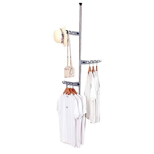 LM-Coat rack Perchero pie Perchero, Barra de tensión Perchero Vertical Tendedero, Telescópico...