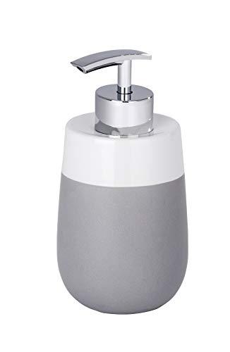 WENKO Seifenspender Malta Grau/Weiß Keramik - Flüssigseifen-Spender, Spülmittel-Spender Fassungsvermögen: 0.3 l, Keramik, 7.5 x 15 x 8 cm, Grau