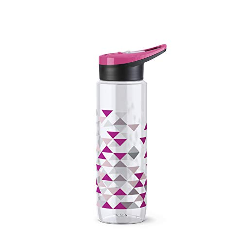 Emsa Drink2Go Sport Botella de 0,7 L Triángulo, tapón deportivo, ergonómico, punta de silicona, apertura fácil, fácil de limpiar, vida activa y deportiva, plástico Tritan® sin BPA, N3031000
