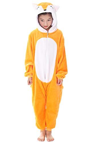 Dolamen Kinder Unisex Jumpsuits, Kostüm Tier Onesie Nachthemd Schlafanzug Kapuzenpullover Nachtwäsche Cosplay Kigurum Fastnachtskostuem Weihnachten Halloween (Höhe 120-130CM (47