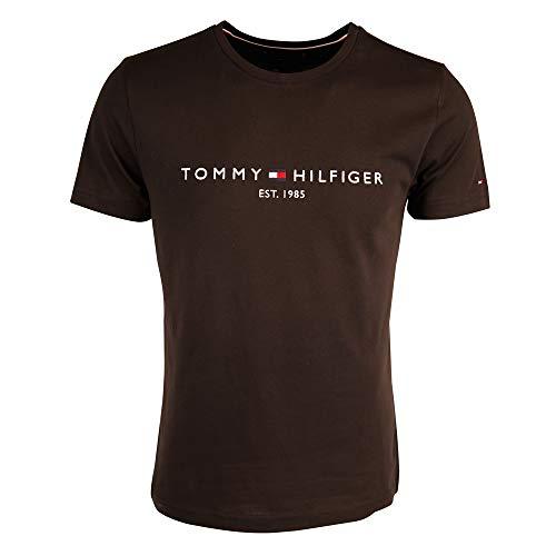 Tommy Hilfiger Herren Tommy Logo Tee Regular Fit T-Shirt, Schwarz (Jet Black Base), Large ( Herstellergröße: L)
