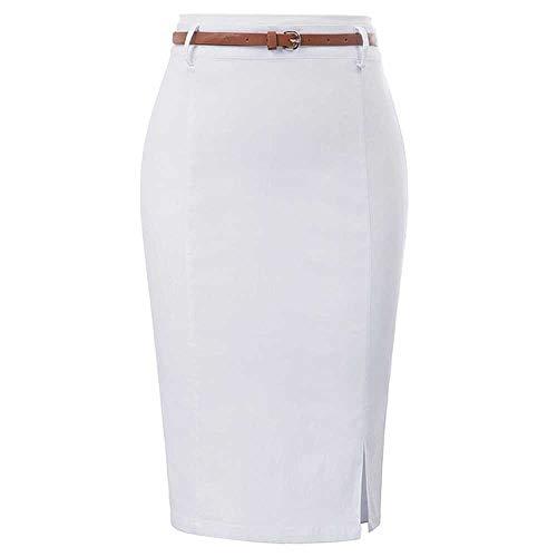 Ropa de Trabajo Faldas lápiz Cinturones divididos de Color sólido para Mujer Fajas Decoradas Abrigo de Cadera Falda Ajustada Faldas de Oficina Elegantes y Atractivas