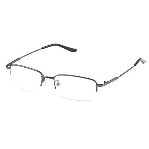 Hzjundasi Hälfte Erinnerung Metall Rahmen Kurzsichtigkeit Myopia Brillen Kurzsichtig Brille Anti-Ermüdung Harz Linse -1.0~-6.0 (Diese sind nicht Lesen Brille)
