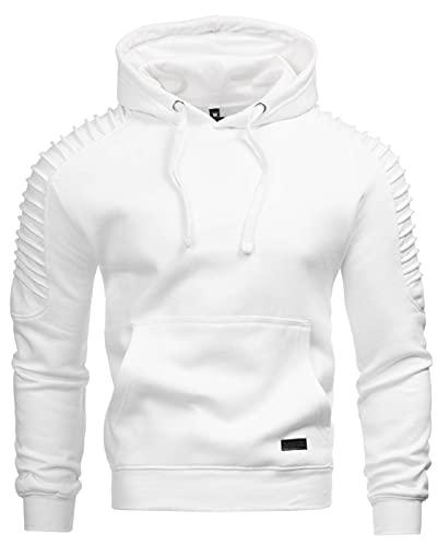 A. Salvarini Herren Pullover Langarm Sweatshirt Kapuzen Hoodie Biker AS074 [AS-074-Weiss-Gr.XL]