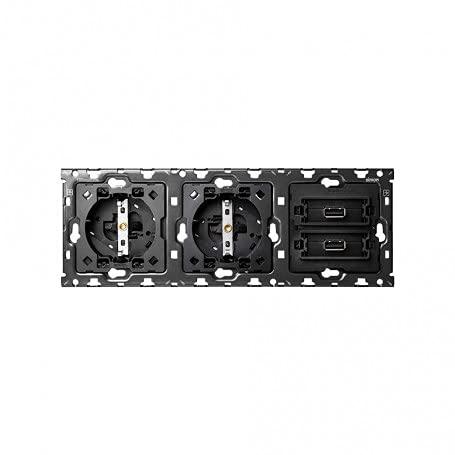 Kit back para 3 elementos con 2 bases enchufe Schuko y 2 conmutadores pulsantes, serie 100, 3 x 12 x 7 centímetros, color negro (referencia: 10010309-039)