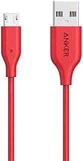كابل شحن ميكرو يو اس بي لأجهزة اندرويد, ماركة انكر, حبة واحدة بطول 3  متر ,10 قدم , احمر