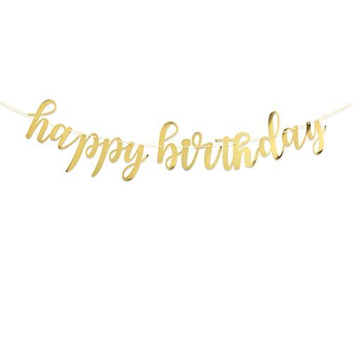 Happy Birthday Bannière Banderole Lettre Personnalisée Guirlande Décoration pour Table Fête Party Bonne Anniversaire Cérémonie (Doré)