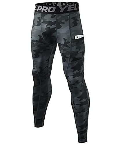Shengwan Leggings Uomo Compressione Calzamaglia Pantaloni Sportivo Tights for Gym Jogging Running con Tasche Camo Nero L