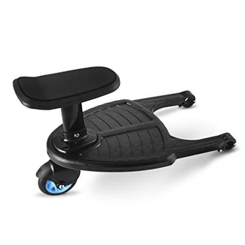 Yanhonin Marche Pied pour Poussette Universelle, Mini Buggy Board Roue à 360 ° Planche Poussette Pédale Pliable, Siège Amovible et Assemblable (Roue bleue)