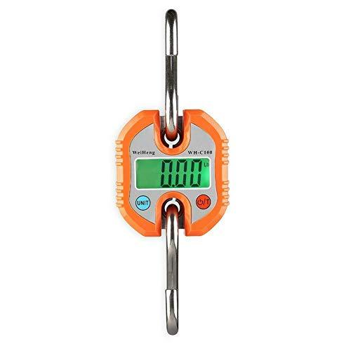 Yiwa Mini-weegschaal, 150 kg x 50 g, elektronisch, robuust, schaal met haak om op te hangen, weegschaal, LCD, oranje