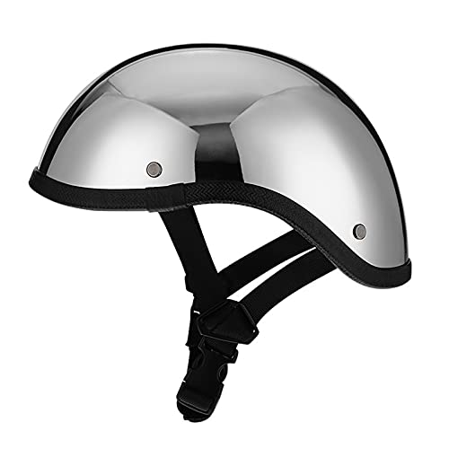 Casco abierto retro plateado Imitación Fibra de carbono Motocicleta vintage Medio casco Sombrero de calavera Bicicleta Crucero Cimitarra Ciclomotor Scooter ATV Casco masculino y femenino Certificaci