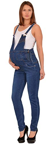 ESRA Damen Jeans Schwangerschaftshose Umstandshose Latzhose Jeans für Schwangerschaft Maternity J294