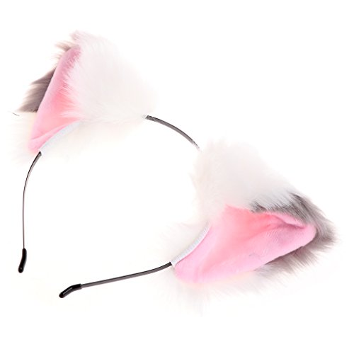 ZOOMY Diadema Cat Ears Cosplay Costume Party Fancy Girls Hairband - Blanco + Gris