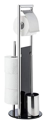 WENKO WC Garnitur Set Ravina stehend Edelstahl mit Toilettenpapierhalter Toilettenbürste Ersatzrollenhalter und Gratis Ersatzbürste