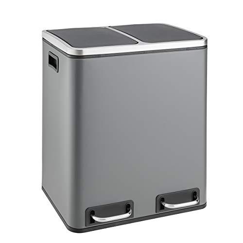 SVITA TM2X15 Treteimer 30 Liter Grau Abfalleimer Mülleimer Design Mülltrennung Papierkorb Küchen-Ordnung Trennsystem