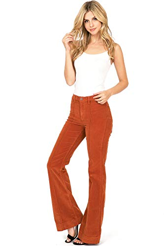 Angry Rabbit Juniors High Waist Stretchy Premium Flare Jeans (30, Corduroy Persimmon)