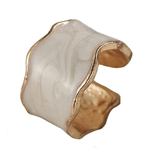 Anillo dorado con ondas de resina blanca nacarada ajustable