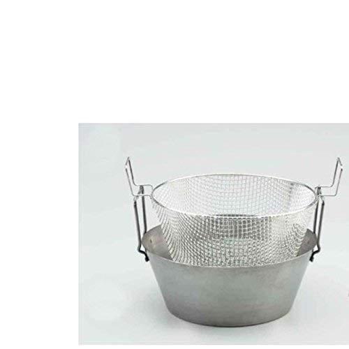 FRIGGITRICE in ferro spazzolato con CESTELLO in rete metallica cm. 42