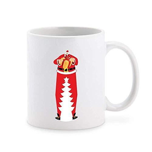 N\A Papá Noel Alto Gigante con Regalo y Silueta de árbol de Navidad Taza de café de Dibujos Animados Taza de té Tazas de Regalo novedosas 11 oz