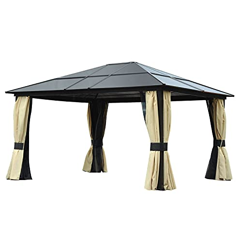 Outsunny Luxus Pavillon Gartenpavillon Alu Partyzelt Gartenzelt mit lichtdurchlässigem PC Dach 430...