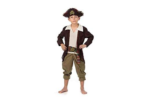 Piratenkapitän Kostüm Kinder 3tlg Gehrock Hose Piratenhut zum Karneval braun weiß - 9/11 Jahre
