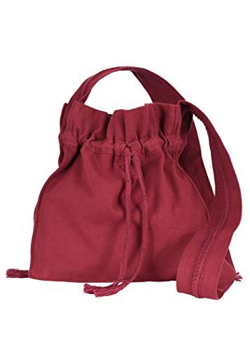 Battle-Merchant Mittelalter Umhängetasche für Damen und Herren aus Baumwolle   Schultertasche oder Schulterbeutel aus Canvas   Karneval Pilgertasche aus Stoff diverse Farben (Weinrot)