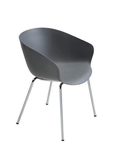 CAIRO Armlehnstuhl Altino Designer Armlehnenstuhl - Stuhl mit Armlehne, Stühle Lehne, Metall Beine, Schalenstuhl Armlehnen grau, BxHxT 58x78x60 cm