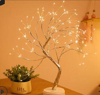 Lámpara LED para interior de bonsái, luz nocturna con 108 ledes de color blanco cálido, para dormitorio, escritorio, decoración de boda, batería o USB, interruptor táctil, altura 50 cm