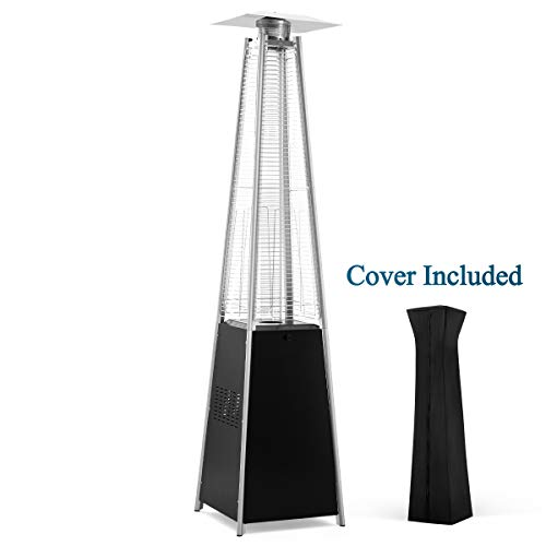 PAMAPIC Patio Heater, 42,000 BTU Pyramid Flame Outdoor Heater Quartz Glass Tube Propane Heater with Cover(Black)