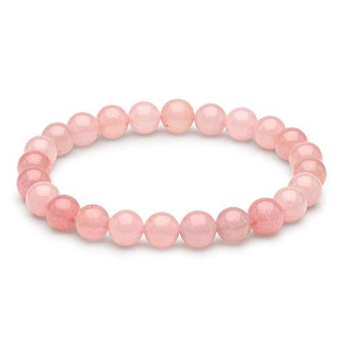 Pulsera de Amor de Cuarzo Rosa Natural para Mujer | Pulsera de Cristal de Piedras Preciosas de 8 mm | Sanación Espiritual | Goma Elástica | Idea de Regalo