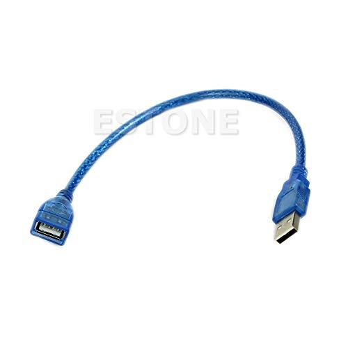 Cable de datos de 23 cm corto USB 2.0 A hembra a macho cable alargador azul