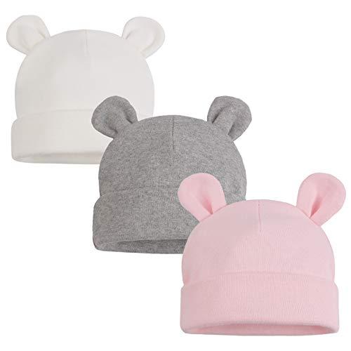 XIAOHAWANG Nouveau Né Bébé Chapeau Ours Oreilles Garçons Filles Bonnet Coton Chapeau pour Enfant Naissance 0 à 6 Mois (Blanc+Rose+Gris, 0 à 6 Mois)