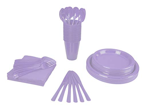 350 PCS Disposable Tableware Combo Pack INCLUDES: 50 9' Lavender Plastic dinner plates| 50 7' plastic appetizer plates |50 plastic cups| 50 paper napkins| 50 plastic cutlery spoons forks & knives