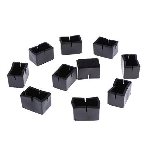 Baoblaze 10pcs Tapas Antideslizantes para Patas de Silla Protectores de Piso de Muebles de Madera Rectangular Negro