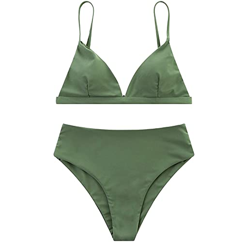 Conjunto de bikini para mujer de cintura alta, traje de baño sexy para mujer, traje de baño sólido, acolchado de verano, ropa de playa de dos piezas push up