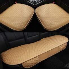 YBINGA Funda de asiento de coche de piel sintética para asiento de coche, funda protectora de 5 plazas para silla de coche (color: beige)