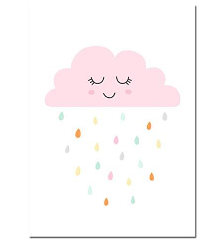 ACEYCHUANG Póster de Lienzo Anime Sun Moon Cloud Rain, decoración para niñas,...