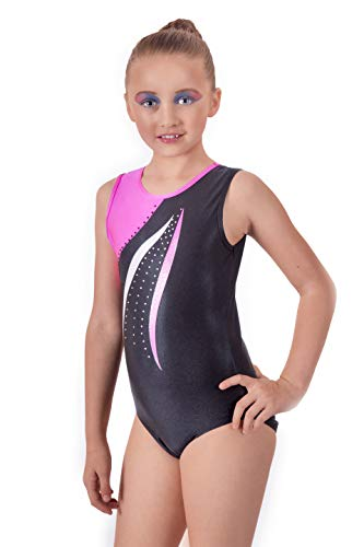 Velocity Dancewear Gymnastics Leotards for Girls Short Sleeve/Sleeveless Mambo Pink Color Sparkle Leotard Dancing Ballet Gymnastics Athletic (7-8 Years, Size 28)