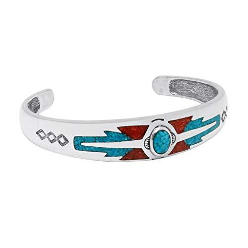 Indianerschmuck Armreif Türkis Koralle Chip Inlay Westernschmuck Navajo Style Indianerarmreif