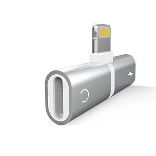 DDG EDMMS Adaptador para auriculares Cargador para iPhone 7 2 en 1 Adaptador de audio Adaptador para auriculares Conector para auriculares Control de música Teléfono de carga