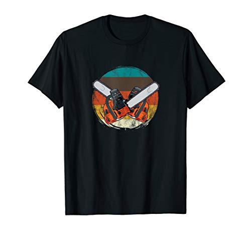 Motorsäge Vintage Holzfäller Sägespäne Waldarbeiter Geschenk T-Shirt