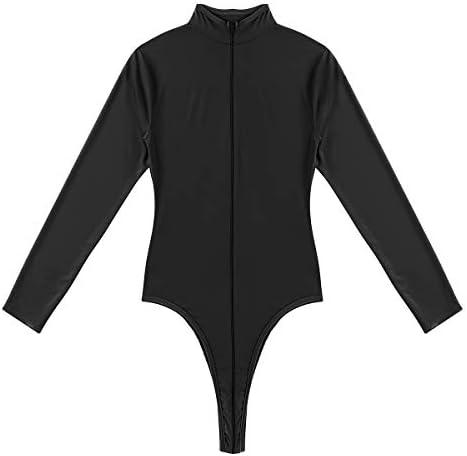 YiZYiF Women Mesh Lingerie Bodysuit Zipper Crotch Turtle Neck Leotard Tops Jumpsuit Catsuit product image