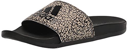 adidas Women's Adilette Comfort Slide Sandal, Core Black/Core Black/Wonder White, 5