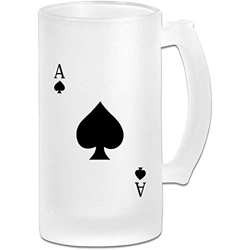 NHJYU Boccale di Birra Ace of Spades Poker Frosted Glass Stein Beer Mug - Personalized Custom Pub Mug- Gift for Your Favorite Beer Drinker