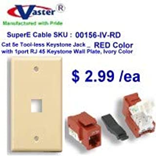Amazon Com Vaster Vastercable Cat5e Tool Less Rj45 Keystone Jack Red With 1 Port Rj 45 Keystone Wall Plate Ivory Home Kitchen