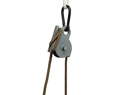 Locking Pulley ,15 Feet Nylon Rope. Made in U.S.A. 250 Pound Capacity.