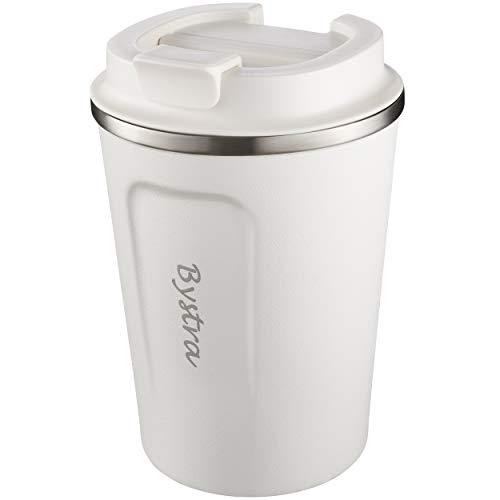 BYSTRA Thermobecher – Kaffeebecher to go 100% Auslaufsicher – Isolierbecher 350ml – Trinkbecher mit doppeltwand Isolierung – Travel Mug – Teebecher – Reisebecher BPA-Frei – weiß