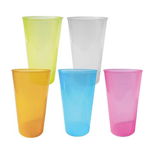 TELEVASO - 200 uds - Vaso Cocktail 480 ml Reutilizable Ligero - Polipropileno (PP) - Colores Surtidos - Vaso ecológico Libre de BPA, Ideal para Cerveza, cubatas, Agua