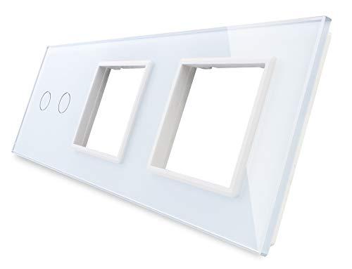 LIVOLO VL-C7-C2/SR/SR-11-A - Marco de 3 enchufes para interruptores de luz (cristal), color blanco