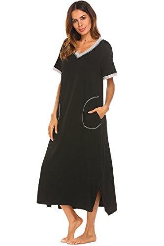 Ekouaer Womens Caftans Plus Size Sleepwear Night Dress (Black, X-Large)